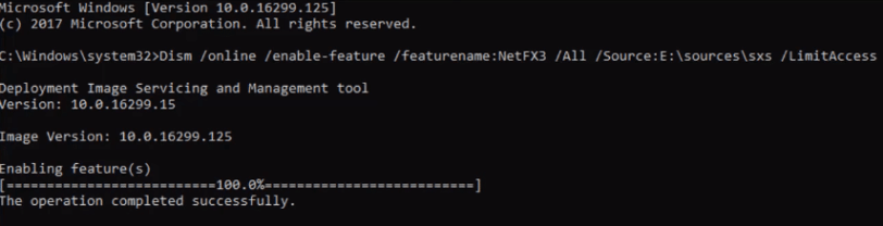 dism enable feature netfx3